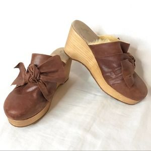 Free People Nightingale Clogs Leather Faux Fur 9